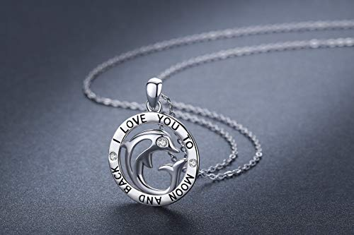 14b0d662a29b5 CUOKA MIRACLE Dolphin Necklace I Love You to The Moon and Back Pendant  Necklace 925 Sterling Silver Jewelry Gift for Women (Silver)