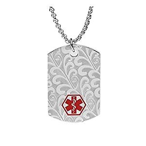 BAIYI Medical Alert ID Necklace Stainless Steel Filigree Matte Dog Tag for Women Men 24 inch Free Engraving