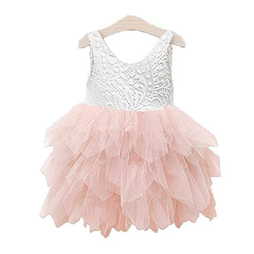 Topmaker Backless A-line Lace Back Flower Girl Dress (1T, Non-Beads-Pink)