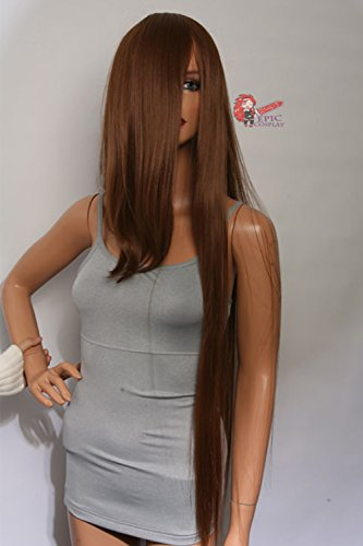 Epic Cosplay Athena Light Brown Extra Long Bang Straight Anime Wig 40 Inches (Athena Wig)