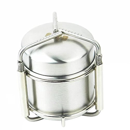 Od-sports Portable Outdoor Stoves Stainless Steel Mini Ultra-light Spirit Burner Alcohol Stove Camping Stove Furnace Stand with Multifunctional Spoon with Carabiner