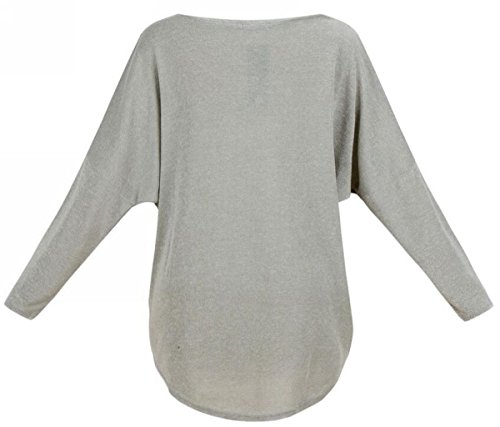 UGET Women's Sweater Casual Oversized Baggy Off-Shoulder Shirts Batwing Sleeve Pullover Shirts Tops Asia XL Gray by UGET (Image #2)