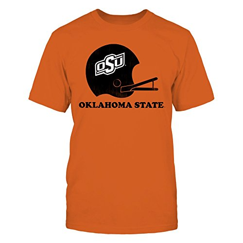 FanPrint Oklahoma State Cowboys T-Shirt - Retro Oklahoma State Football Helmet Shirt Or Hoodie - Men's Tee/Orange / 3XL