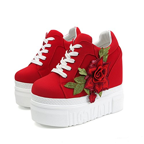 Platform Canvas Shoes Women, Hidden High with Wedges Sneakers Flower (8, Red)