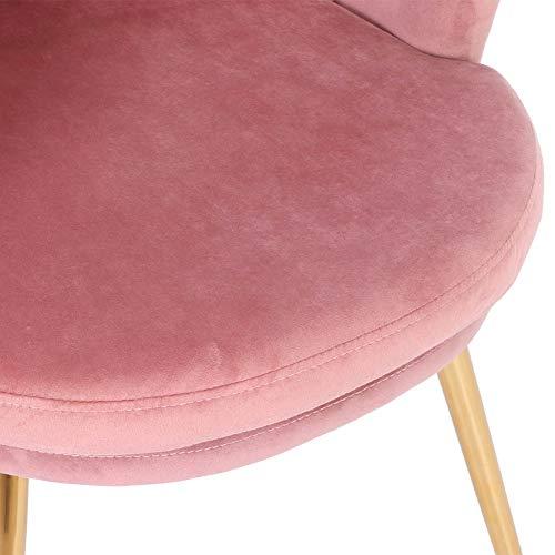 Estink sammetsstol, sminkstol stoppningsstol matrumsstol med guldpläterade metallben, fritidsstol för vardagsrum/sminkbord, 55 x 57 x 71 cm