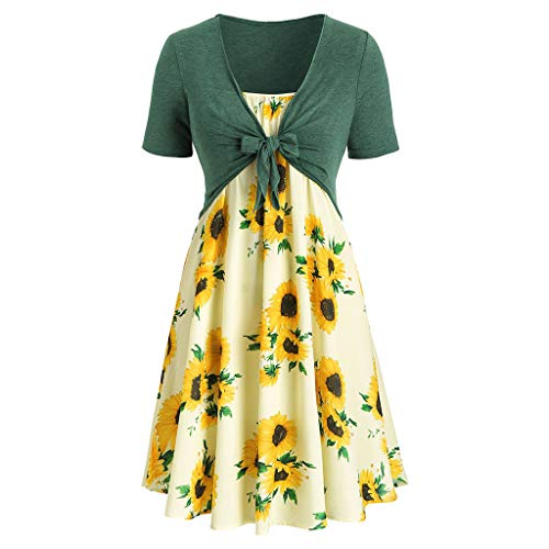 CCatyam Dresses for Women Casual Summer Short Sleeve Bandage Tops Front Criss Cross Sunflower Printed Mini Dress Suits Green