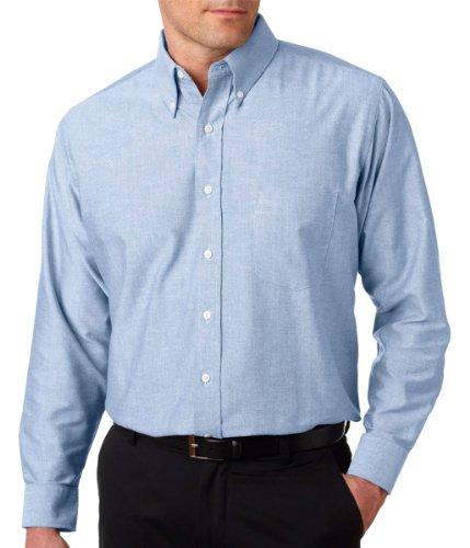 UltraClub 8970T Mens Tall Classic Wrinkle-Free Long-Sleeve Oxford Shirt - Light Blue, 2XLT (Ultraclub Woven Shirts)