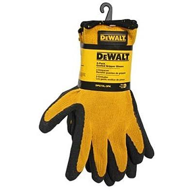 DeWalt DPG70L-3PK Coated Gripper Gloves, Large, 3-Pack