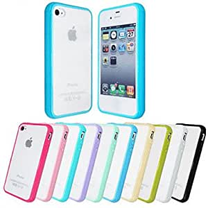 PEACH- Simple Style Transparent Frosted Back and Colorized Frame Pattern TPU Back Case for iPhone 4/4S(Assorted Color) , Black