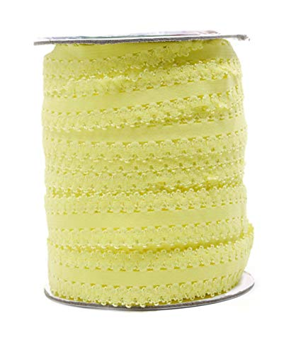 Mandala Crafts Elastic Lace Trim, Stretch Ribbon for Headbands, Lingerie, Garters, Thongs, DIY Crafting and Sewing (1 Inch, 55 Yards, Yellow) -