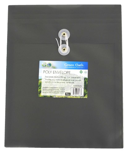Green Oath Poly Envelope, Top-Load, Letter Size, Button String Closure, Pack of 12, Graphite (50268-14277) ()