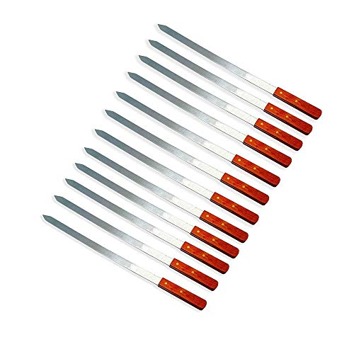 LavoHome 12 Pack 23-Inch Heavy Duty 1-Inch Wide BBQ Barbecue Kabob Skewers Wooden Handles