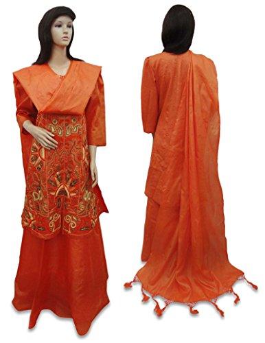 Vintage Indian Style New Bridal Lehenga Pure Silk Set Embroidered Fabric Orange