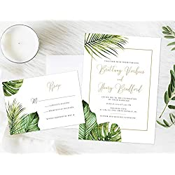 Tropical Wedding Invitation, Formal Tropical Wedding Invitation, Palm Leaves Invitation, Destination Invitation