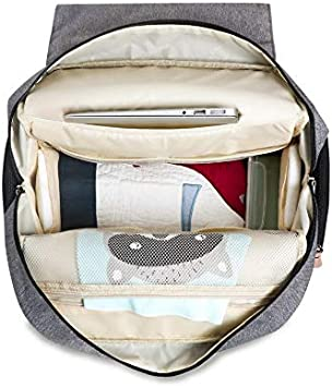 Multi-Function /& Waterproof /& Large Capacity Mom /& Dad EZGO Land 4 in 1 Diaper Bag Backpack Grey /& Black Baby Nappy Changing Bag with 1 Changing Mat /& 2 Stroller Clips Hospital Maternity Bag