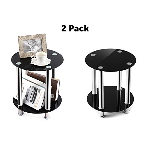 TAVR End Table,Sofa Table,Night Table,Coffee Table,with Safty Tempered Glass Shelves,Set of 2, Round ET4001 ()