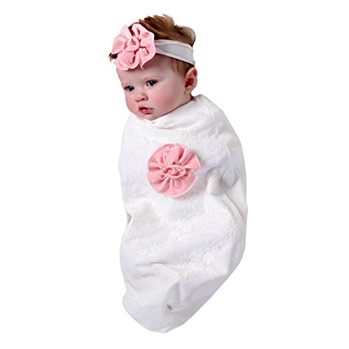 Newborn Cocoon - Cozy Cocoon Baby Cocoon Swaddle and Matching Headband, White Lace and Roses, 0-3 months
