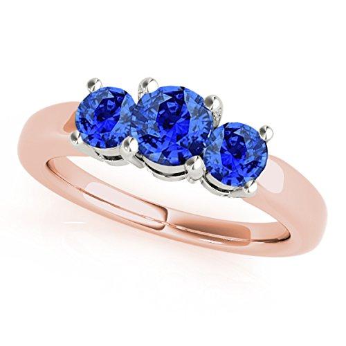 MauliJewels 1 Ct. Ttw 3 Stone Two-Tone Tanzanite Ring in 14K Rose & White Gold - Ring Tanzanite Two Tone