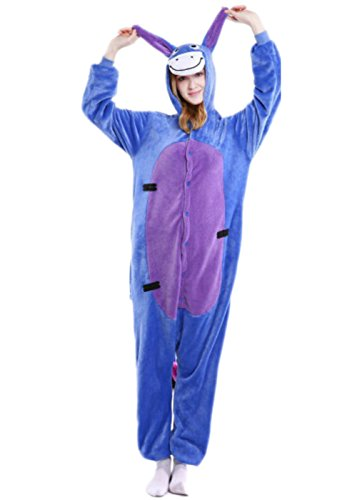 Indiefit Adults Onesie Pyjamas Flannel Animal Cosplay Costume Hoodie Sleepwear Nightgown Eeyore-S