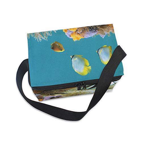 el enfriador hombro almuerzo Bolsa fiambrera de de picnic bajo peces de vida correa gusano esponjas colorido para agua de q1AtAp