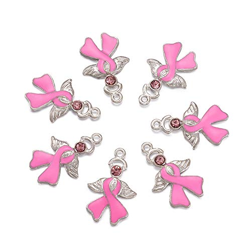 Craftdady 10Pcs Pink Breast Cancer Awareness Ribbon Alloy Enamel Charms with Angel Wing 23.5x15mm DIY Jewelry Necklace Earring Bracelet Craft Making Pendants