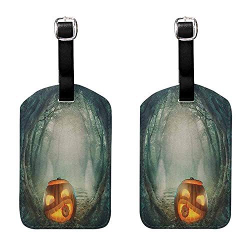 Labels ID Tags Halloween,Drawing of Scary Halloween Pumpkin Enchanted Forest Mystic Twilight Party Art, Orange Teal for Suitcase 1 Piece -