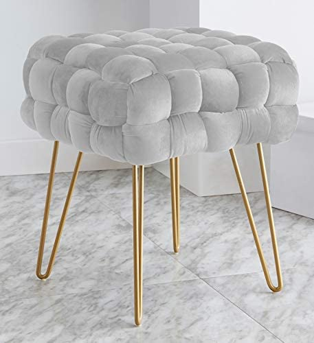 Ornavo Home Mirage Modern Contemporary Square Woven Upholstered Velvet Ottoman with Gold Metal Legs – Silver
