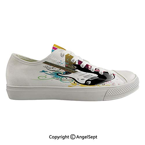 Durable Anti-Slip Sole Washable Canvas Shoes 14.96inch Bass Guitar on Colorful Vertical Stripes with Floral Natural Artistic Ornaments Decorative,Multicolor Flexible and Soft Nice Gift ()