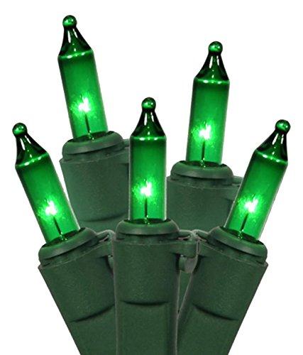 Vickerman Set of 100 Green Mini Christmas Lights - Green Wire (Lamps 100 Lights Green Wire)