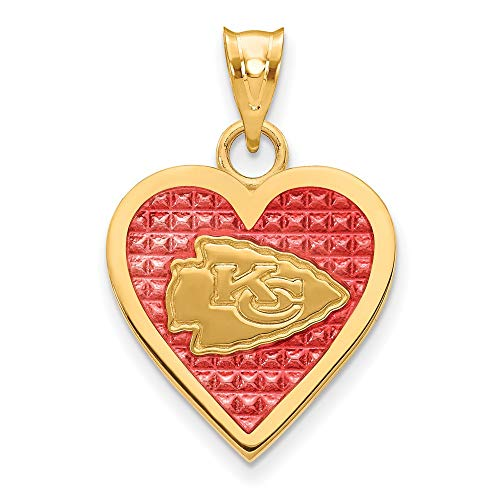 Sterling Silver GP Kansas City Chiefs Enameled Heart - Kc Sterling Pendant Silver