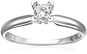 14k White Gold Princess Solitaire Diamond Engagement Ring (1/2 cttw, H-I Color, I2-I3 Clarity), Size 6