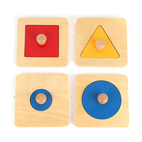 New Sky Enterprises Montessori Single Shape Puzzles Kids First Wooden Puzzle Hardwood Geometric Puzzle Board Matching Games Large Size Geography Pattern Material Geoboard for Toddler
