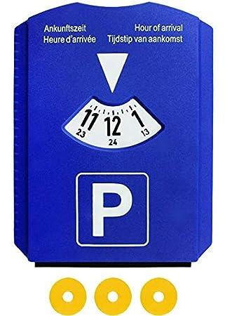 M/&H-24 Europa Parkscheibe Parkuhr f/ür Auto mit 3 Einkaufswagenchips Eiskratzer Kunstoff Blau 2 St/ück