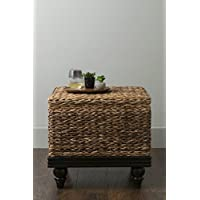East at Main Cambridge Brown Abaca Square Accent Table, (24x24x22)