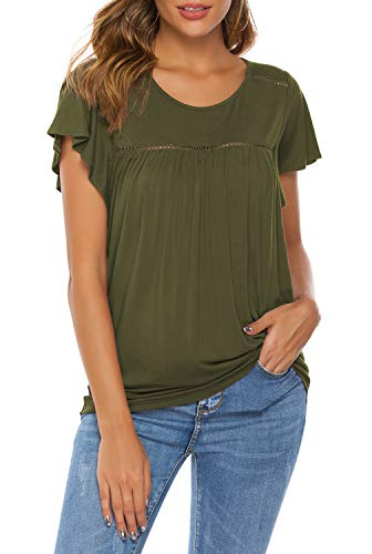 THANTH Womens Short Sleeve Ruffle Round Neck Pleated Loose Casual Tops Blouses Tees Shirts ArmyGreen -