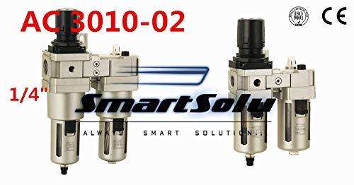 Fevas Pneumatic FRL Combination air Filter Pressure Regulator and Lubricator AC3010-02 1//4 inch Manual Drain Type