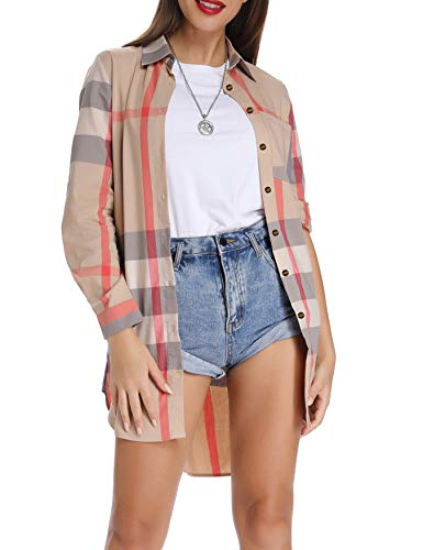 Acloth Long Blouses for Women to Wear with Leggings Casual Cuffed Sleeve Button Down Plaid Shirts Loose Stand Collar Dressy Lightweight Classic Style Buffalo Checked Pocket Tops Beige Pink XXL