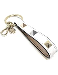 Key Chain Fob Purse Charm Strap Bright White Tricolor Studs