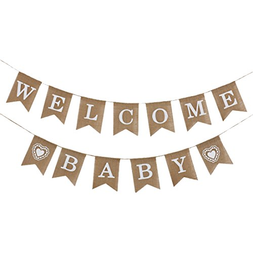LOLOAJOY Welcome Baby Banner Vintage Burlap Banner Linen Flags Decorative for Baby Shower Boy Girl Party -