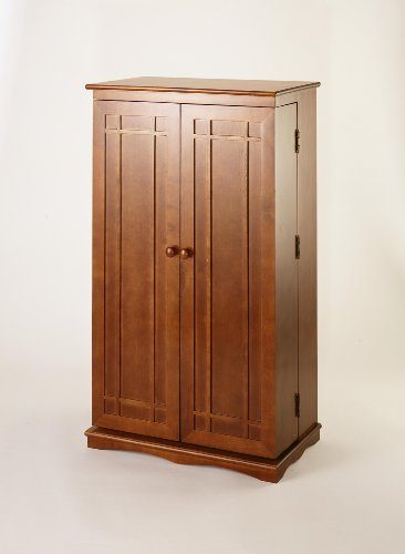 Leslie Dame CD-612W Solid Oak Multimedia Storage Cabinet with Classic Mission Style Doors, ()