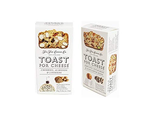 IntFeast Bundle - Toast for Cheese by the Fine Cheese Co - Apricots and Pistachios & Cherries and Almond Variety Pack, 3.2 ounce (Pack of 2)