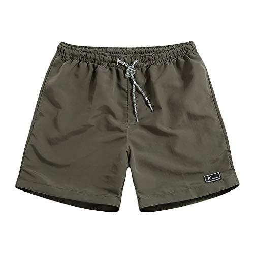 terbklf Mens Drawstring Shorts with Pockets Summer Men's Walk Short Plus Size Jogger Casual Capri Shorts M~5XL Army Green -