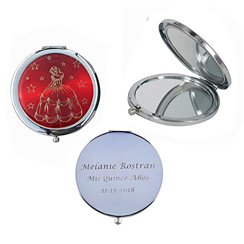 Mis Quince Años (12 PCS) Sweet 15, Sweet Sixteen, Quinceañera, Mis 15 Años Compact Mirror (Red) by WE