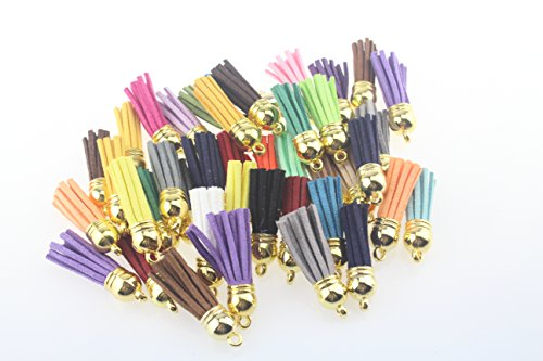 QIANHAILIZZ 100 Mixed Color 38mm Faux Suede Tassel with CCB Cap for Keychain Cellphone Straps Jewelry Charms (Gold Cap)