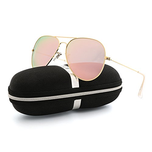 VOPOLAR Sunglasses for Women Men Aviator Polarized Unisex Superlight UV Driving (Gold/Pink, - Fashion Women Sunglasses