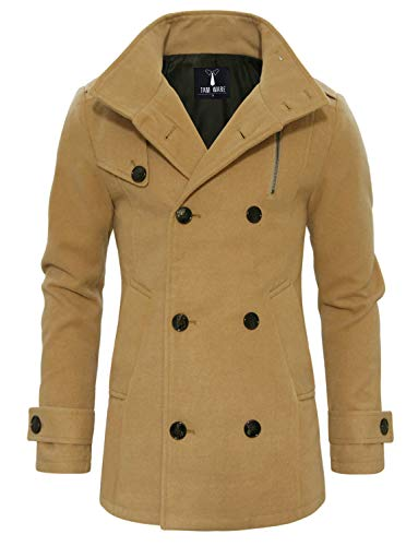 TAM WARE Mens Stylish Fashion Classic Wool Double Breasted Pea Coat TWCC08-BEIGE-US XL