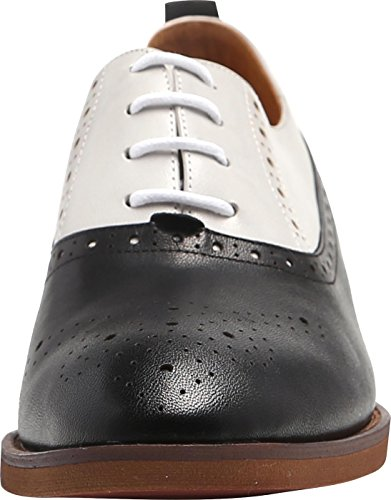 U-lite Womens Perforated Lace-up Round-Toe Brouge Shoes, Multicolor Spring Vintage Oxfords White Black9 by U-lite (Image #2)