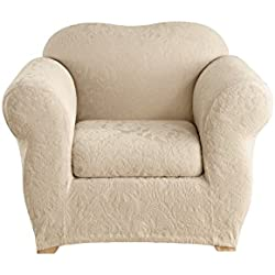 Sure Fit Stretch Jacquard Damask 2-Piece - Chair Slipcover - Oyster (SF40155)