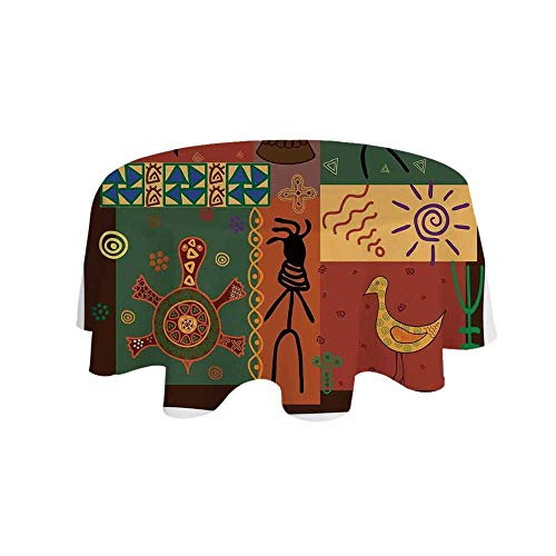 YOLIYANA Primitive Waterproof Round Tablecloth,Funky Tribal Pattern Depicting African Style Dance Moves Instruments Spiritual for Living Room,55.1