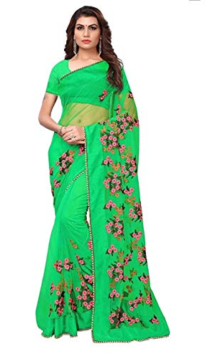 Mohit Creations Designer Net Saree with Embroidery Work